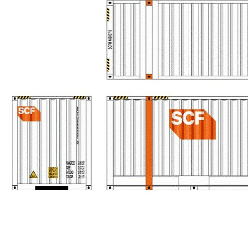 """2 x HO Scale 48"""" Containers SCF - Large End Logo Southern Rail Models 48D24"""