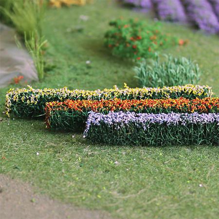 "Blossom Hedges 5"" x 3/8"" x 5/8"", Tall HO-scale, 6/pk MP Scenery"