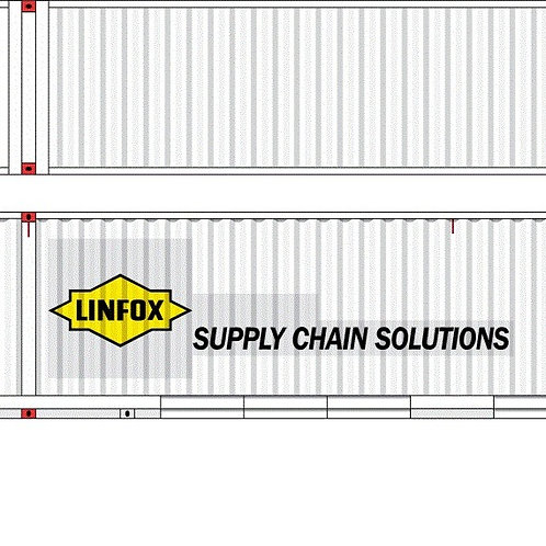 """2 x HO Scale 48"""" Containers Linfox White Southern Rail Models 48D14"""