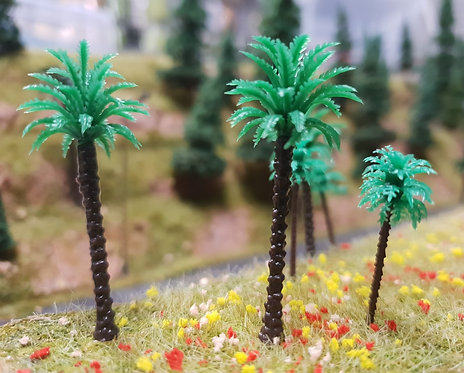 Palm Tree 50mm Plastic 10pk Ground Up Scenery