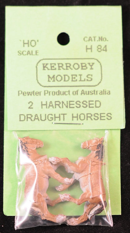 2 x Harnessed Draught Horses HO Kerroby Models KM-H84