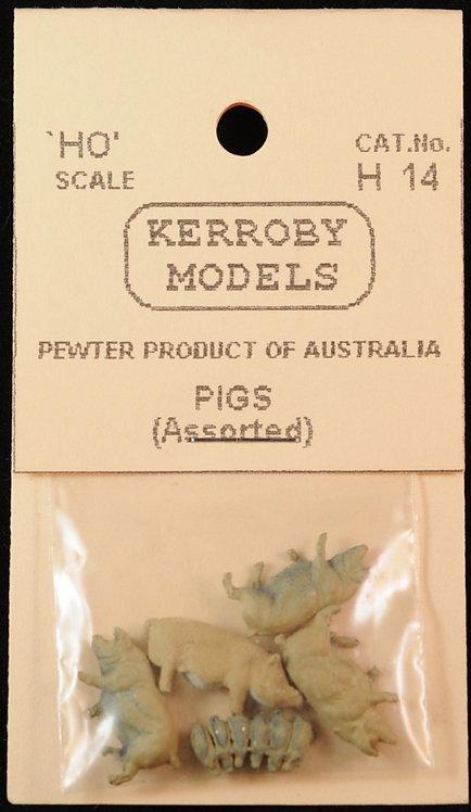 8 x Pigs (4 x Pigs, 4 x Piglets) HO Kerroby Models KM-H14