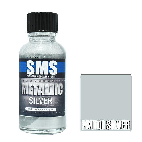 SMS Metallic Acrylic Lacquer Silver 30ml SMS-PMT01