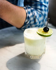 A combination of a Last Word and Gin Sour, delicious