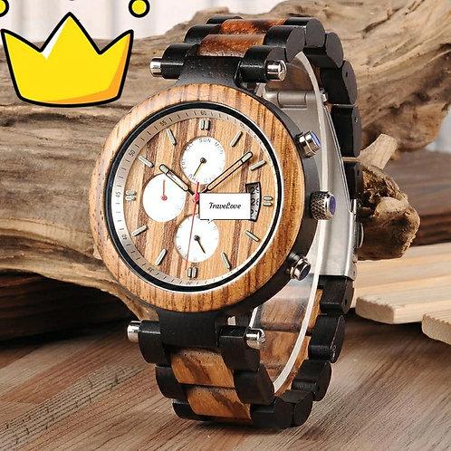 Orologio artigianale in legno con cronografo bianco