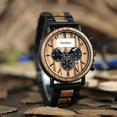 Orologio artigianale in legno con cronografo nero