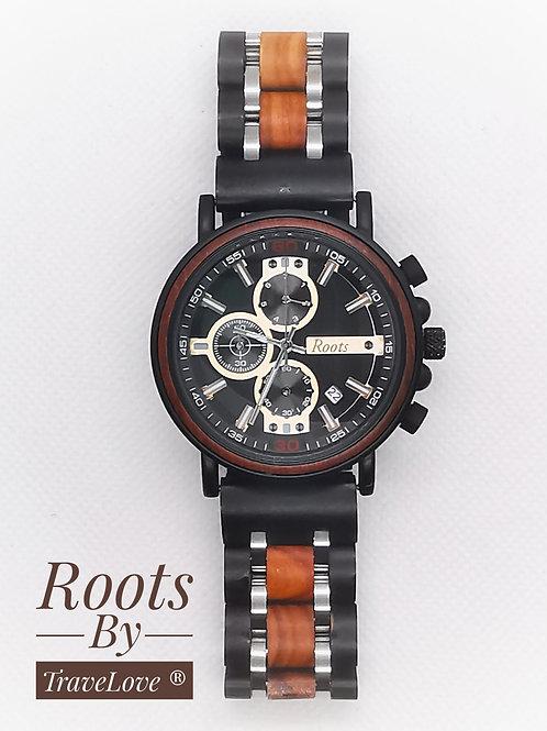 Orologio Roots artigianale in legno con cronografo