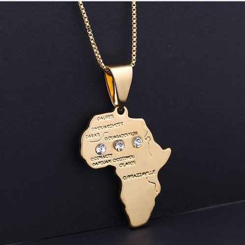 Collana hip hop mappa Africa strass