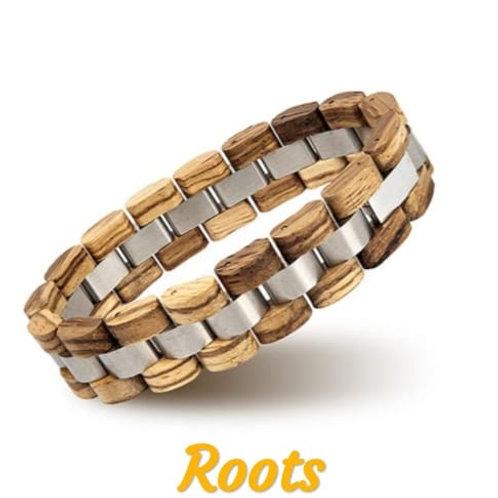 Bracciale in legno e acciaio