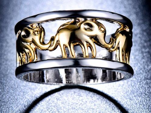 """Anello argento 925 """"il cammino degli elefanti"""""""