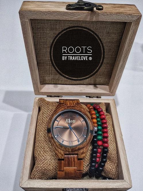 Orologio artigianale in legno di bambù con pietra intarsiata