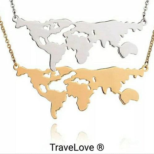 Collana mappa del mondo