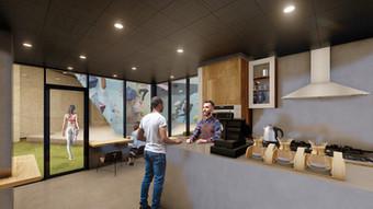ボルダリング施設内のカフェ