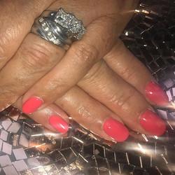 Gelish overlay with a few acrylics to lengthen broken nails #salonlife #gemini #gelnails #acrylicnai