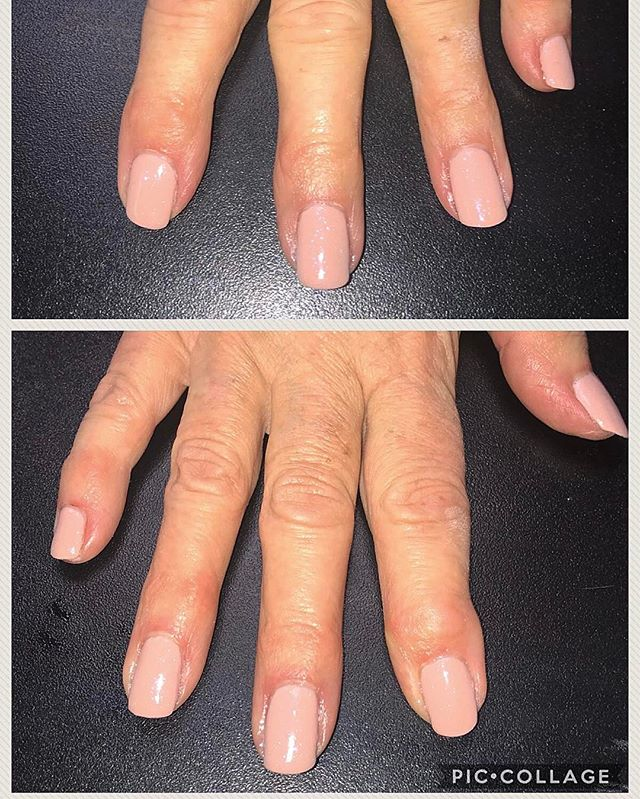 Gelish nails! Pink nude with a shimmer!