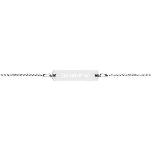 """(et•cet•er•a)"" Engraved Silver Bar Chain Bracelet"