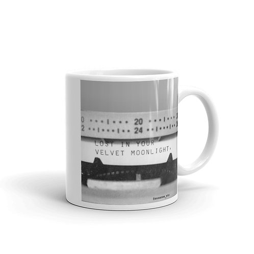 """""""Lost in your Velvet Moonlight"""" Typewriter Poetry Classic White Mug"""