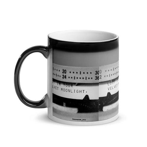 """Lost In Your Velvet Moonlight"" Typewriter Poetry Mug with Black Magic Rim"