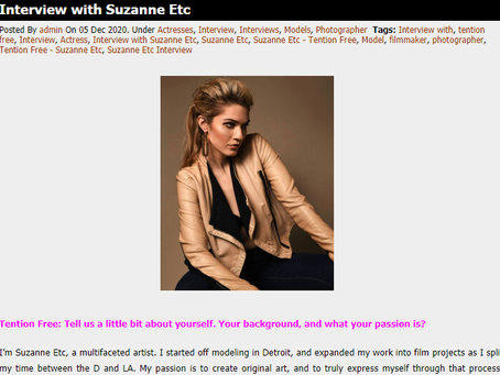 SUZANNE ETC IS INTERVIEWED BY TENTION FREE BLOG