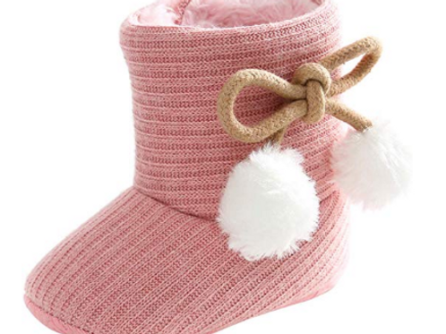 Crochet Pink Boots With White Snow Puff