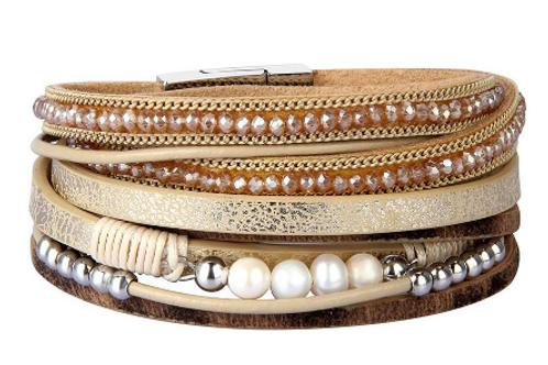 Leather Peal Bracelet