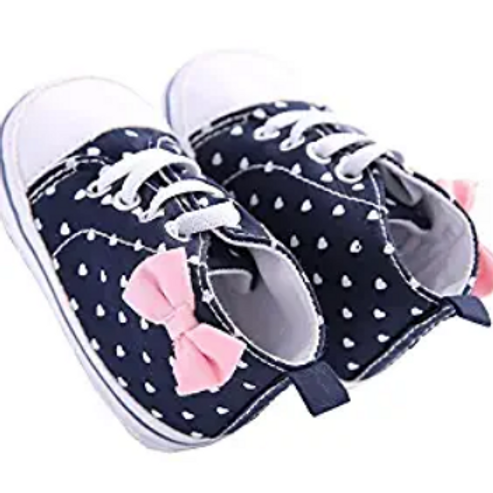Navy Blue with White Hearts & pink bow