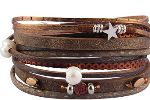 Leather Bracelet Rose, Stars, Leaves, Plus