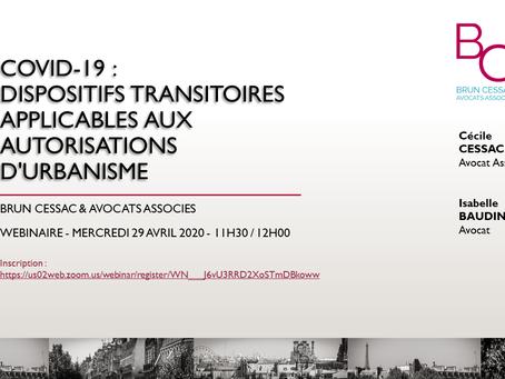 Conférence en ligne BRUN CESSAC - Dispositifs transitoires applicables aux autorisations d'urbanisme