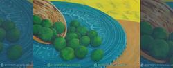 KEY LIMES ON BLUE TABLE