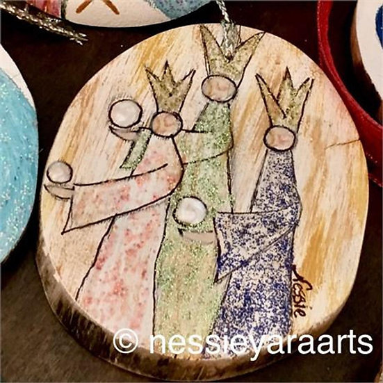 "Christmas Art Ornament ""Wise Men Gifts"" - hand painted on reclaimed wooD"