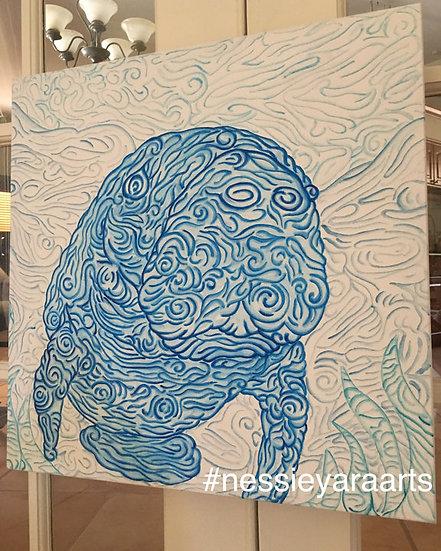"Blue Swirls Manatee - Original Painting by Nessie Yara - 20x20"" - acrylic canvas"