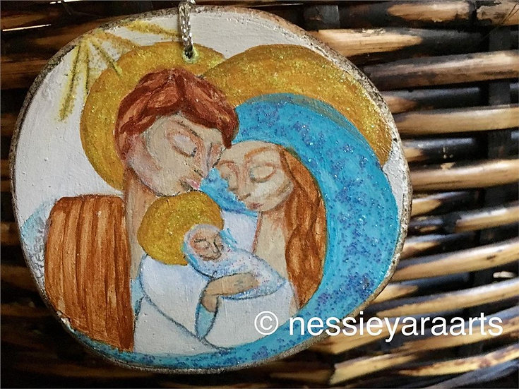 "Christmas Art Ornament ""Holy Family""  - hand painted on reclaimed wood"