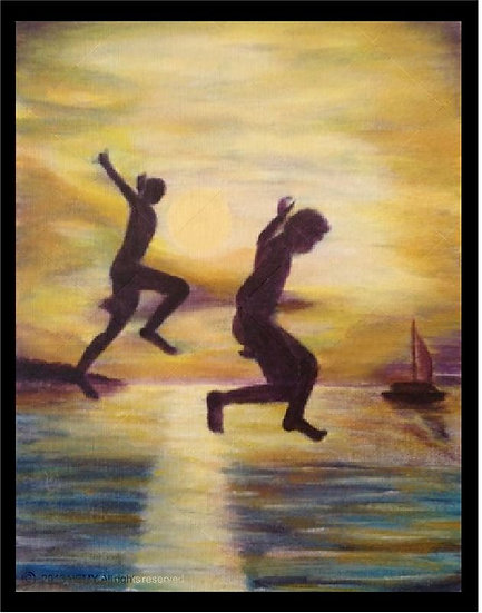 "Jump in the sunset - Limited Edition Print by Nessie Yara - 8x10"" matted"