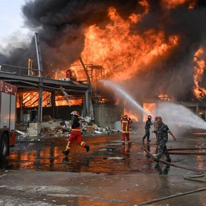 Huge fire erupts in Beirut port a month after explosion