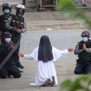 Myanmar nun pleads for police to spare protesters, asking for them to shoot her instead