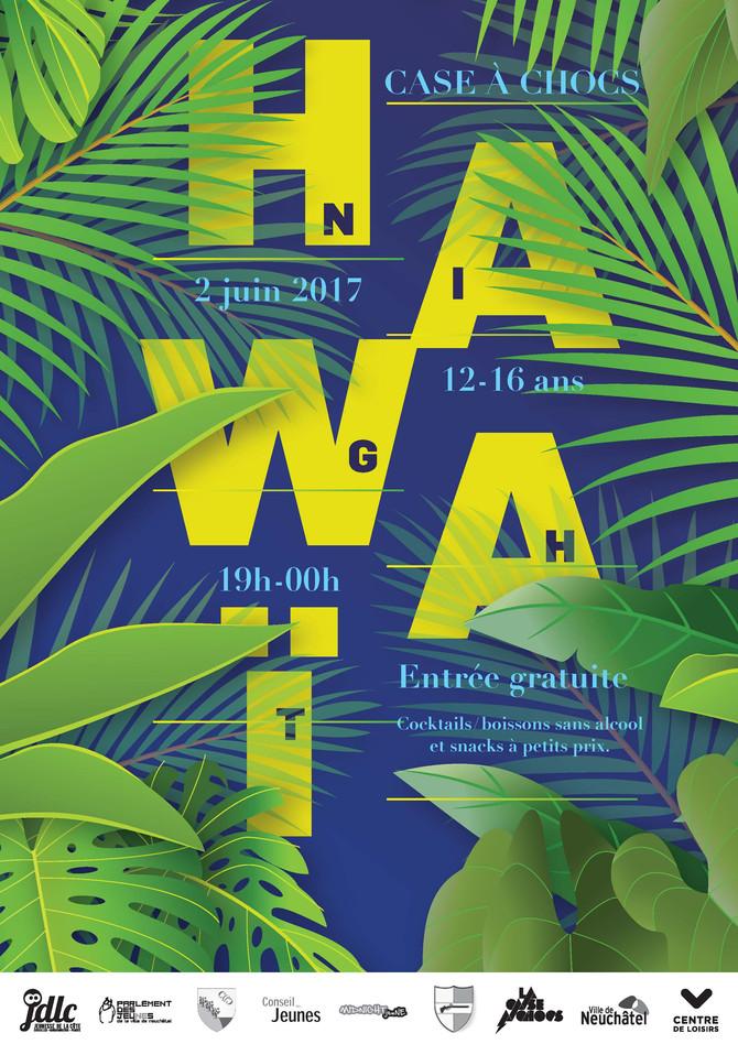 Projet d'affiche soirée Hawaï