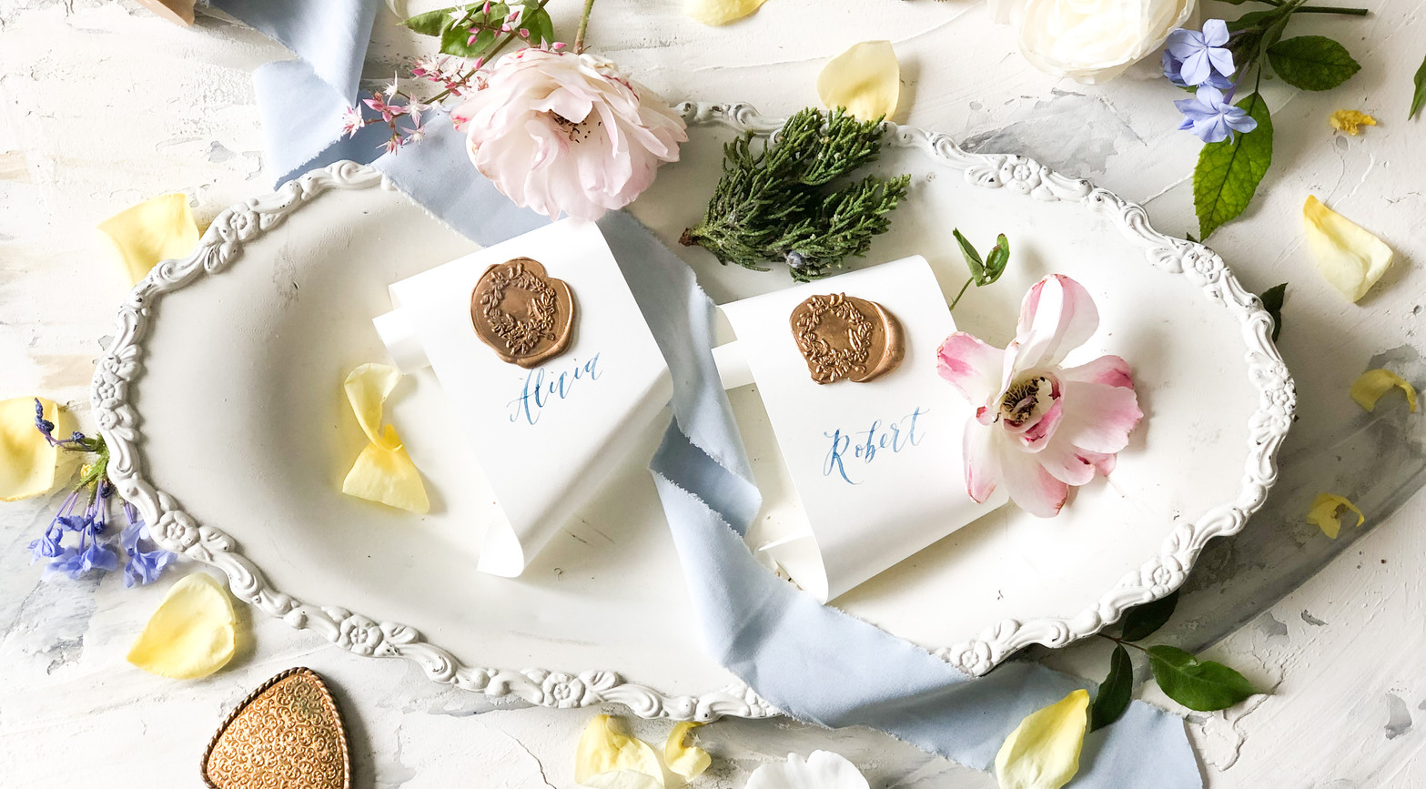 Sea and Sun Calligraphy Placecards.JPG