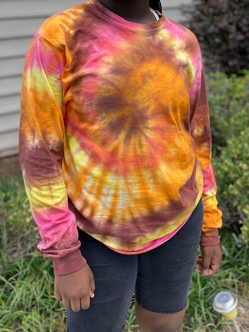 Fall Tie Dye Shirt w/ matching mask