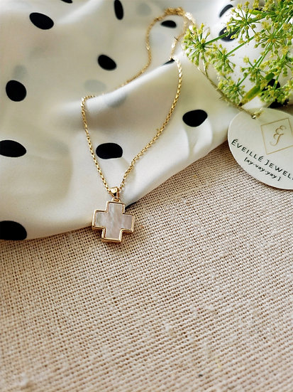 Mother of Pearl Cross Necklace Wholesale