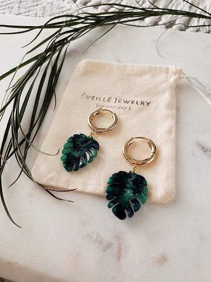 Dominica Earrings. Palm Leaf Hoop Earrings