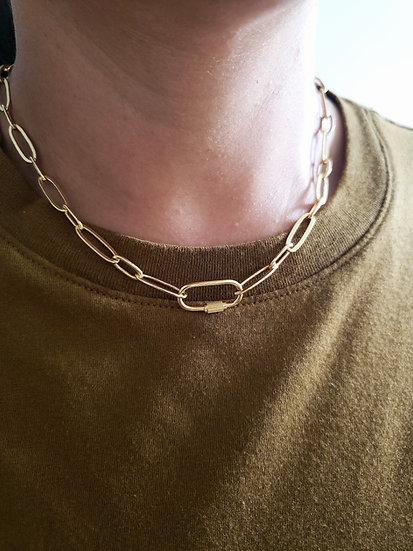 Gold Carabiner Lock Necklace