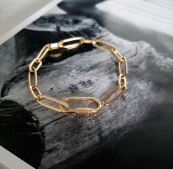 Gold Carabiner Lock Bracelet Wholesale