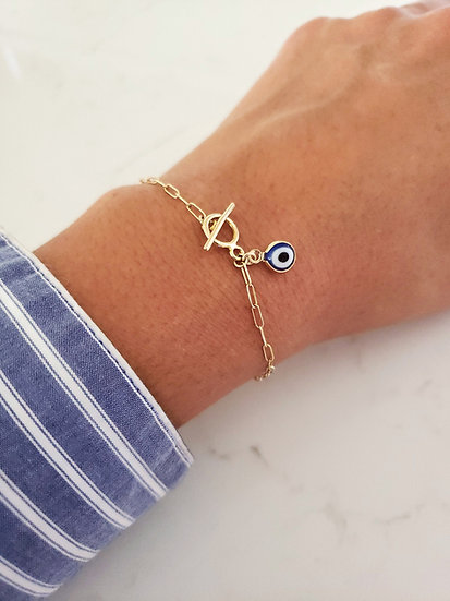 14K Gold Fill Elongated Flat Cable Chain Evil Eye Bracelet