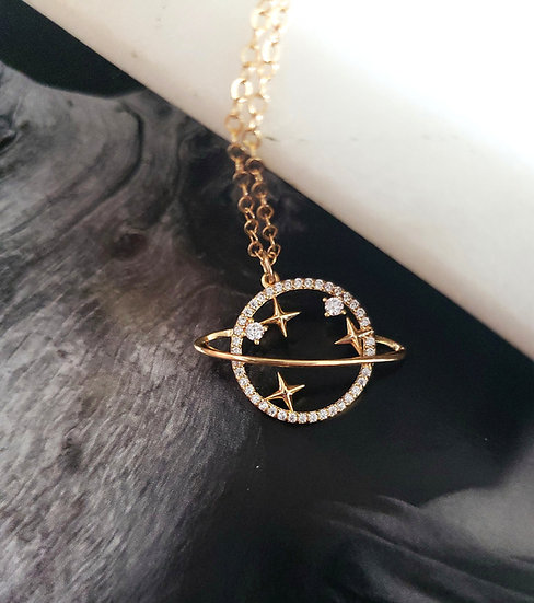 Gold Filled Saturn Necklace Wholesale