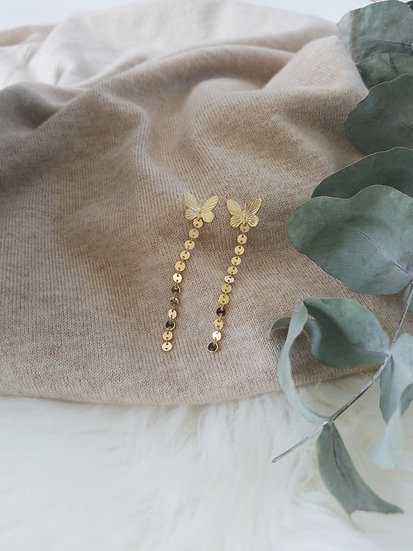 Gold Butterfly Drop Earrings