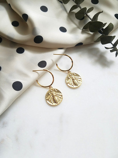 Gold Bee Coin Hoops Wholesale