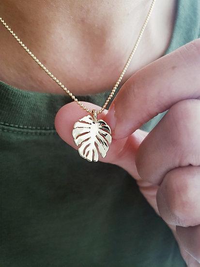 Gold Monstera Leaf Necklace