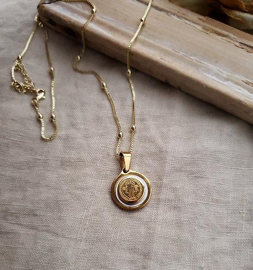 18K Saint Benedict Medal Necklace