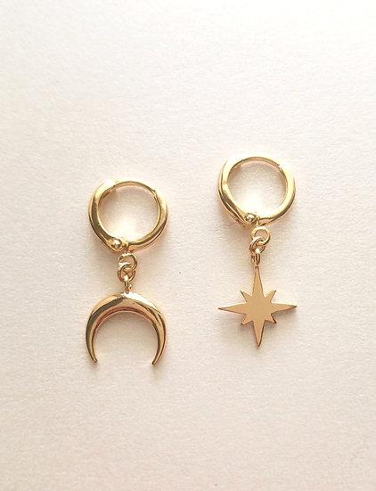 Moon and Star Mini Hoop Wholesale