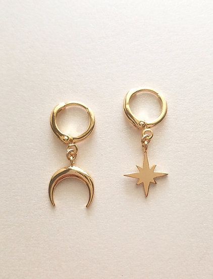 Moon & Star Mini Hoop